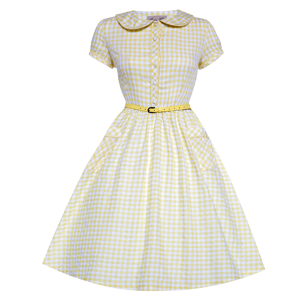 'Bonnie' Yellow Gingham Swing Dress