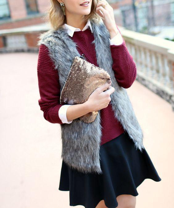 faux fur vest + sequin