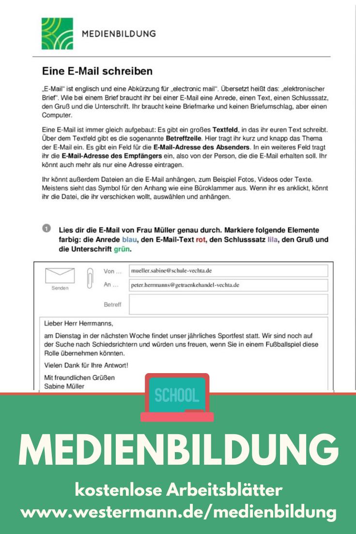 Medienbildung Eine E Mail Schreiben In 2020 Schreiben Arbeitsblatt Eine E Mail Schreiben Schreiben Lernen