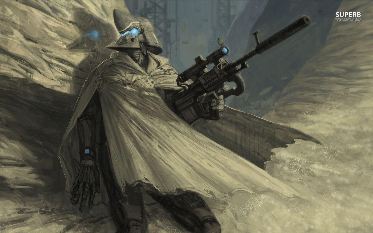 Futuristic Sniper Soldier Scifi Fantasy Art Badass Art Warriors Wallpaper