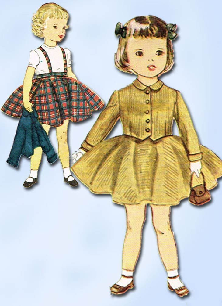 1950s Vintage Simplicity Sewing Pattern 3992 Uncut Toddler Girls ...