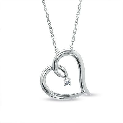 Heart pendant necklace wdiamond accent hearts pinterest tilt heart pendant necklace wdiamond accent aloadofball Images