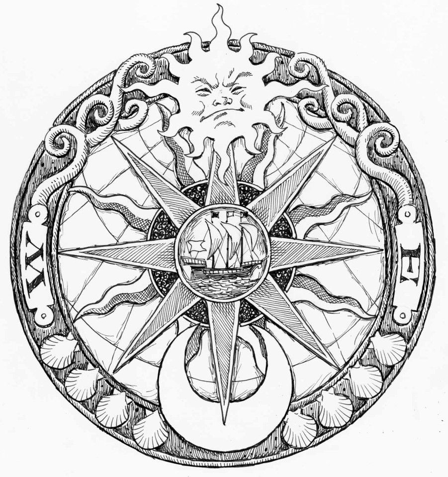 Compass Tattoo Line Drawing : Nautical compass drawing google search left sleeve