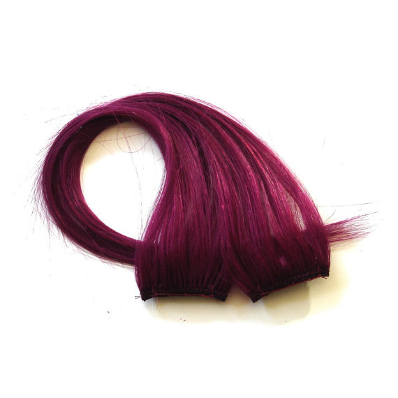 Berry Wine Clip In Hair Extensions Burgundy Dark Pinkish Red Clip In