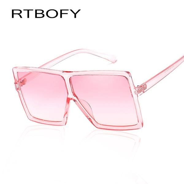 85fded1402  FASHION  NEW RTBOFY New Black Clear Oversized Square Sunglasses Women  Gradient 2018 Summer Style Classic Women Sun glasses Big Square UV400