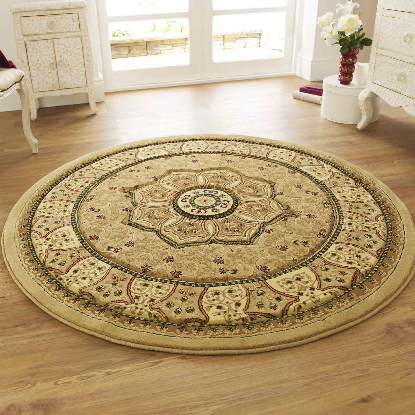 Heritage 4400 Circular Rugs In Beige150x150cm Circle Traditional Rugs Circular Rugs Rugs