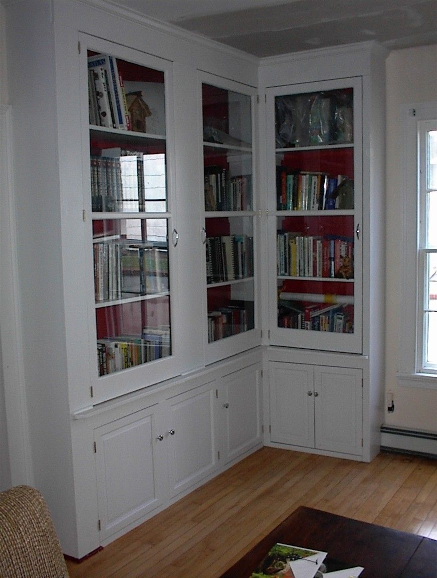Furniture Tall L Shaped White Stained Mahogany Wood Bookcase With Glass Doors And Storage