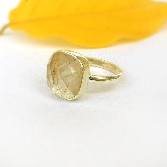 Natural Golden Rutilated Quartz Gemstone Ring Handmade Ring For Her Golden Rutile Ring Natural Rutilated Ring 925 Sterling Silver Ring