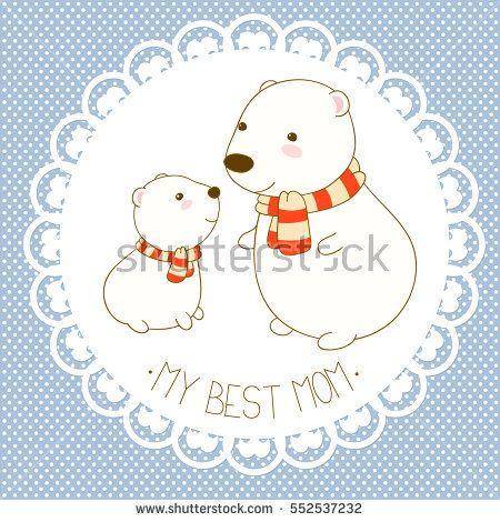 My best mom Vector background with cute polar bear in kawaii style - best of invitation card vector art