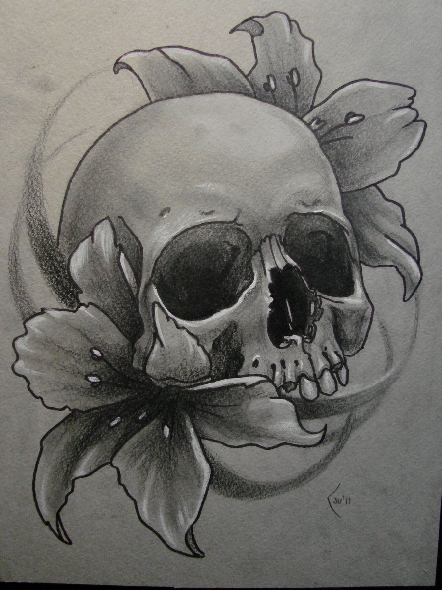 Hand Drawings Roses And Skulls: Sketch For Tattoo By *Xenija88 On DeviantART