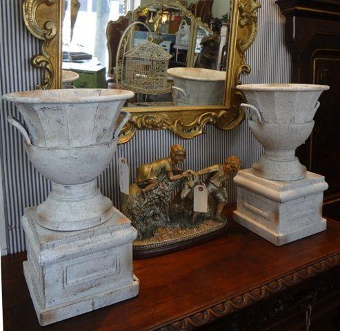 Pair of zinc urns. $89/each