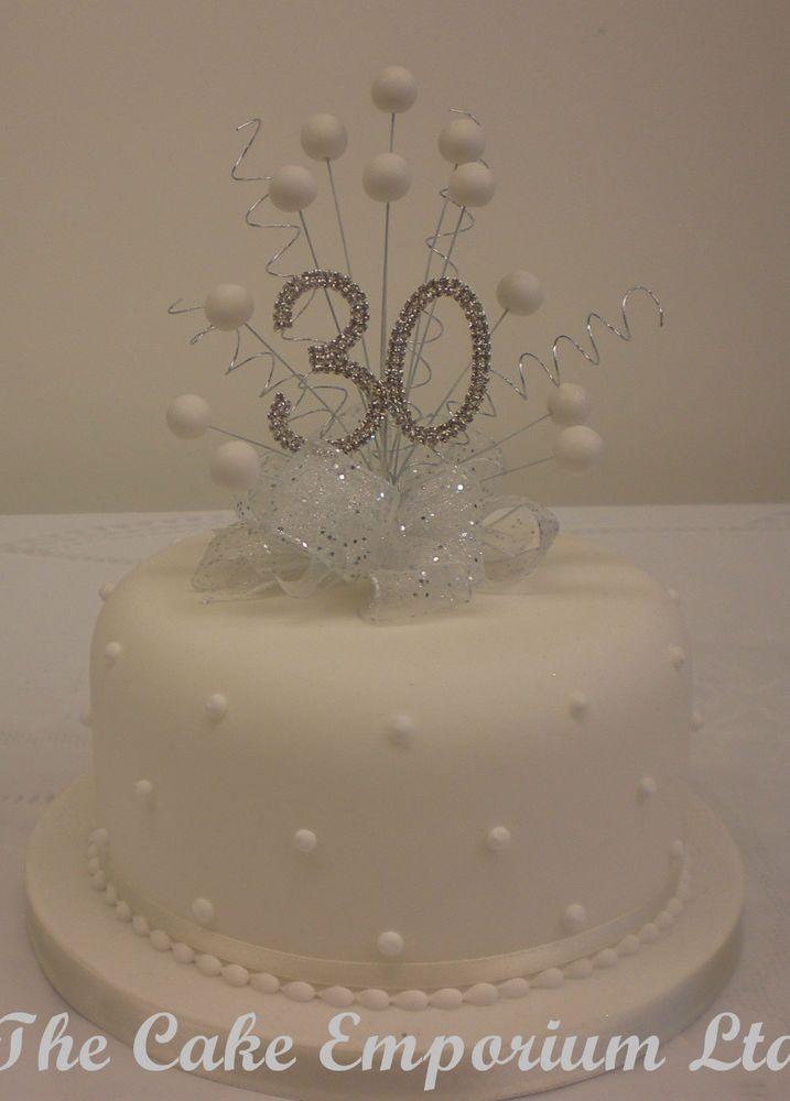 Cake Topper Pearl Burst Diamante Birthday Anniversary Numbers White