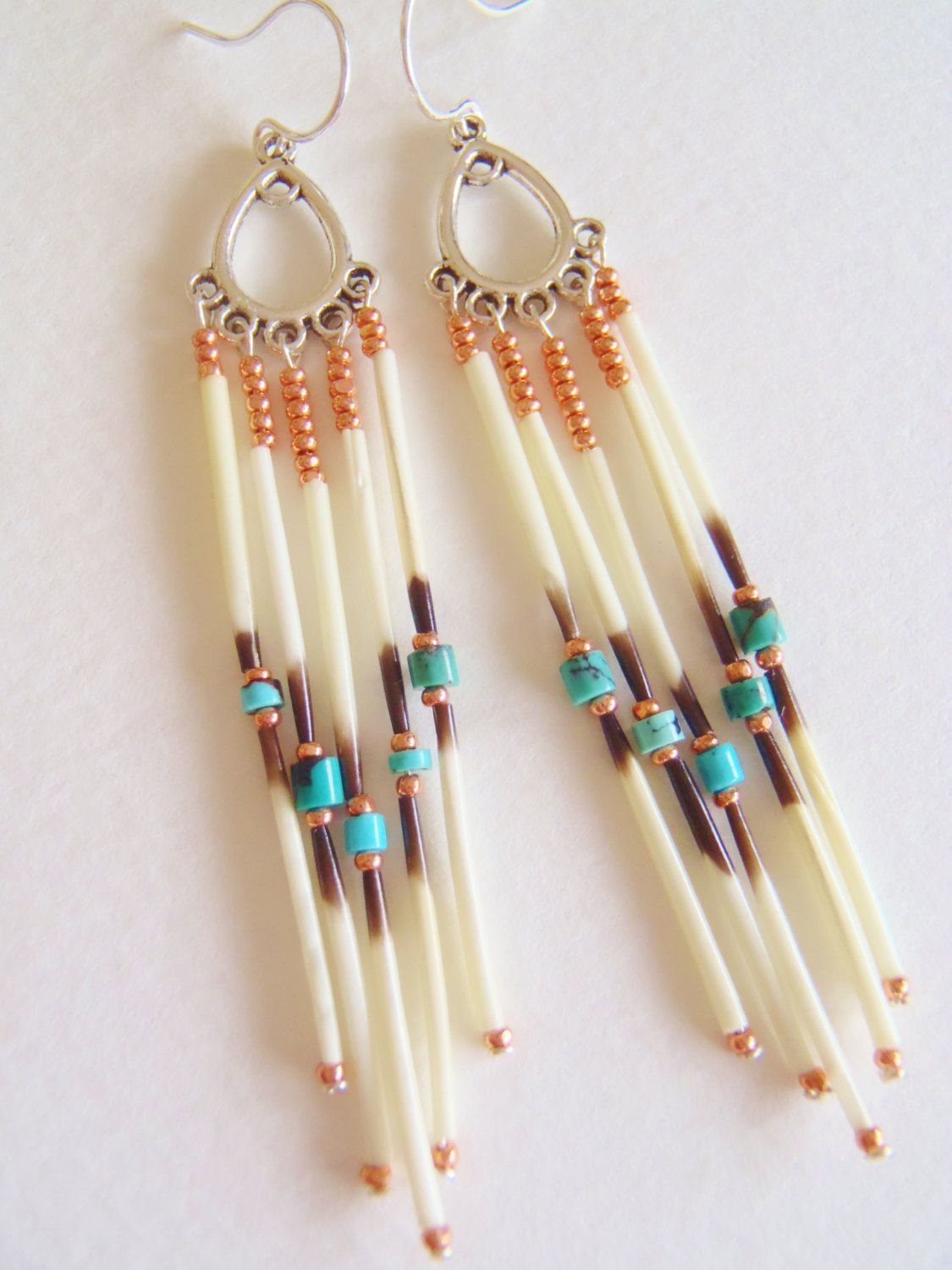 Navajoinspired Porcupine Quill Dangle Earrings By Acaraho