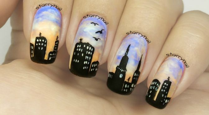 Sunrise In A City Freehand Nail Art Nageldesign Finger Nagel Lackieren