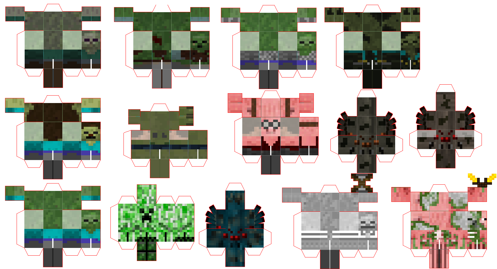 Papercraft Invasion Mod Game Paper Crafts Minecraft Printables Free Minecraft Images