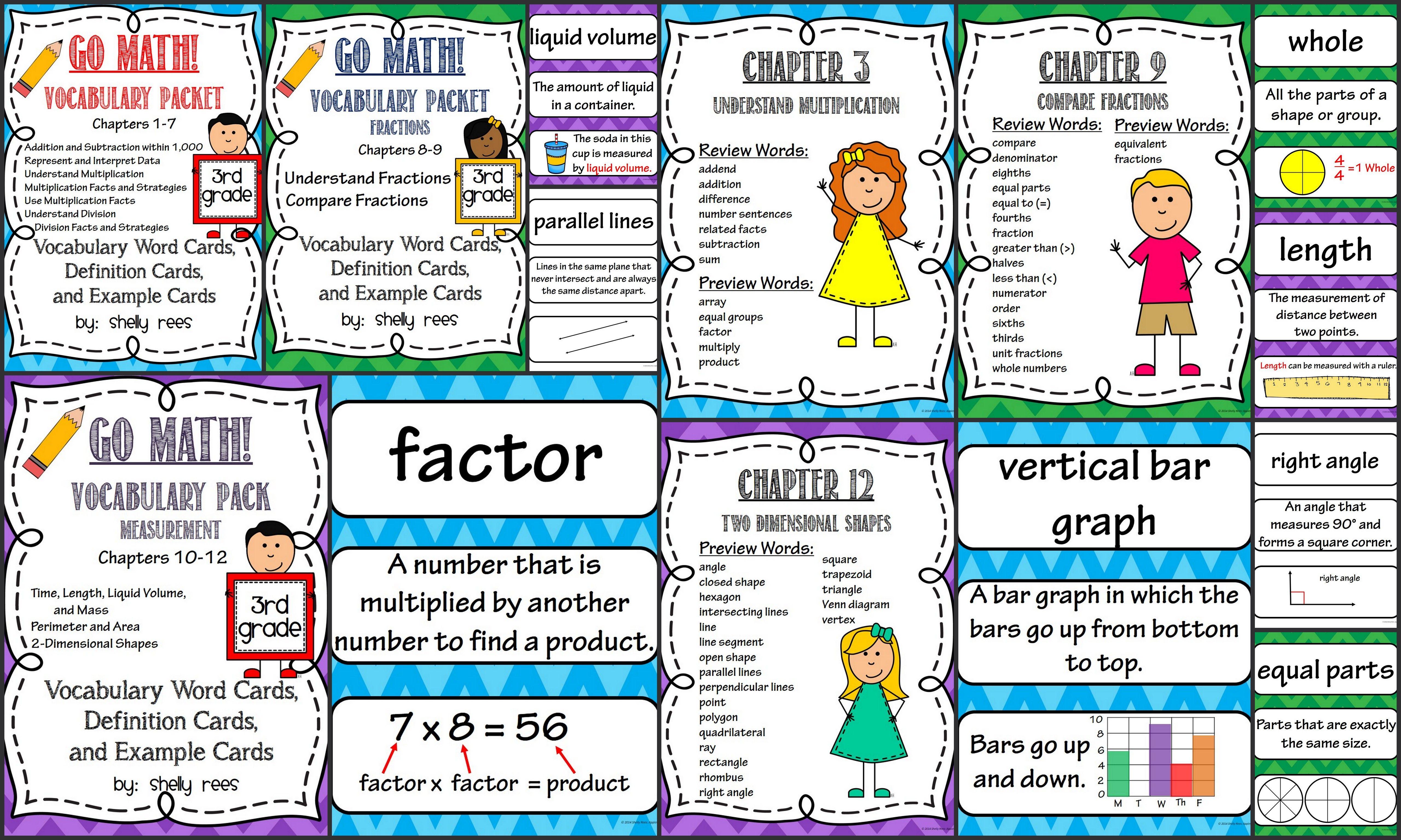 Go Math 3rd Grade Vocabulary for the Year Bundle | Math ...