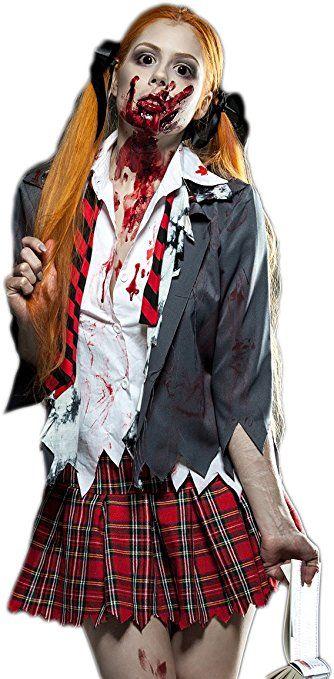 Zombie Schoolgirl Komplettset 5tlg Schulmadchen Kostum Mit Jacke