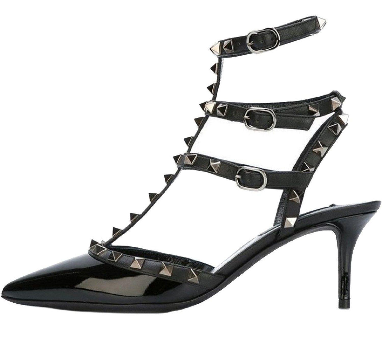 Black sandals on amazon - Amazon Com Royou Yiuoer Patent Leather Black Sandal Pointed Toe Buckle Wedding Sandal