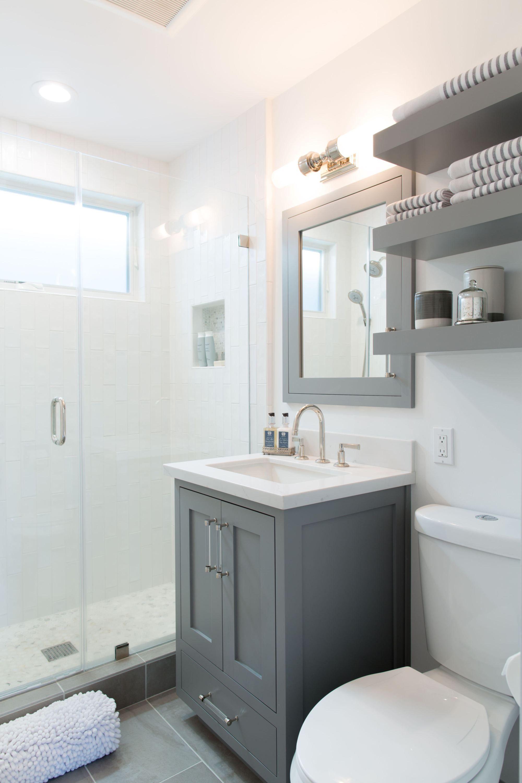 Our Home Bathroom Transformation Kuzak S Closet Gray And White Bathroom Bathroom Interior Design Small White Bathrooms