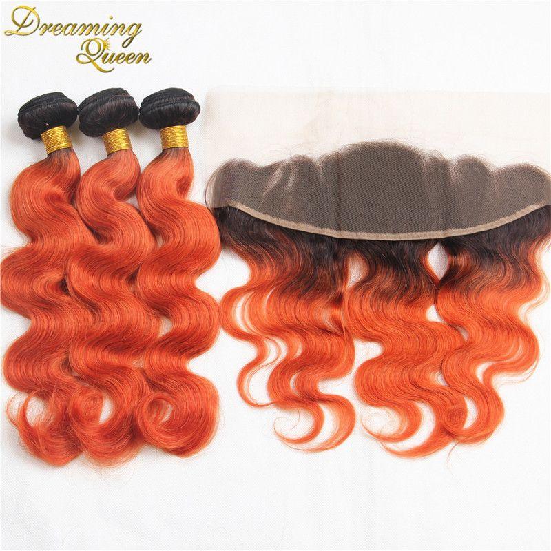 T1b 350 Orange Red Human Hair Weave Indian Virgin Ombre Extensions Bundles 3