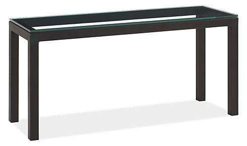 parsons 65w 24d 30h console table with clear glass top console tables living