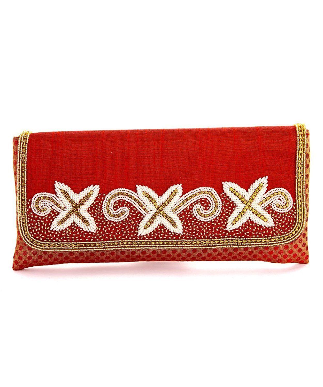 f4aaafc08aa2 LadyBugBag Maroon Silk Designer Clutch - LBB10166   New and awesome product  awaits you