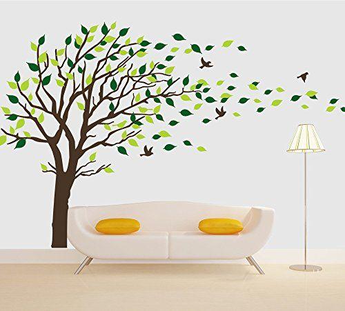 Brown Tree Flying Birds Wall Decals Vinyl Sticker Mural Arts Kids Room Living