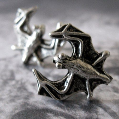 Gothic Silver Bat And Surgical Stainless Steel Post Earrings Style 1