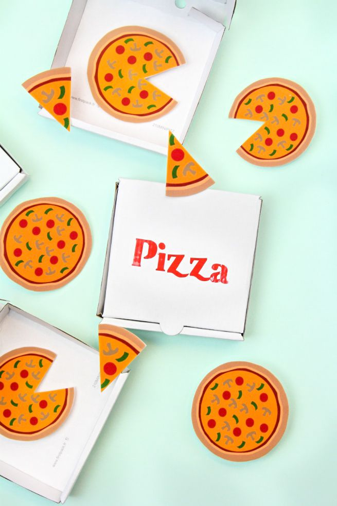 DIY Pizza Brooches Slice Pins & Mini Pizza Boxes