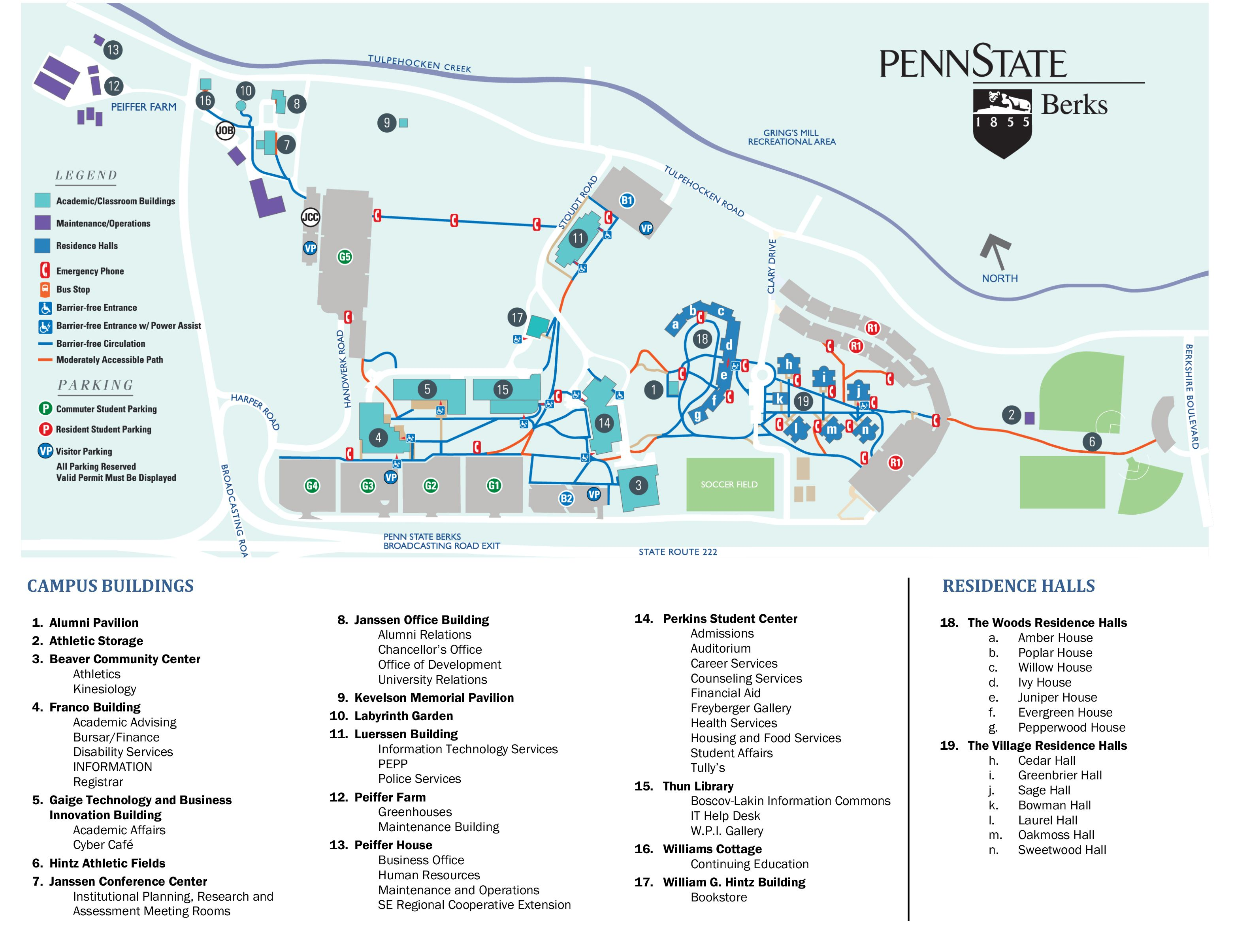 rosemont college campus map Parking Map Of The Berks Campus Campus Residence Hall Penn State rosemont college campus map