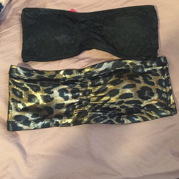 NWOT BANDEAU BUNDLE Purchased and never wore. Maybe tried on. Both size medium. Bought from Charlotte Russe. Excellent condition. One is black lace and the other is leopard metallic. Charlotte Russe Tops
