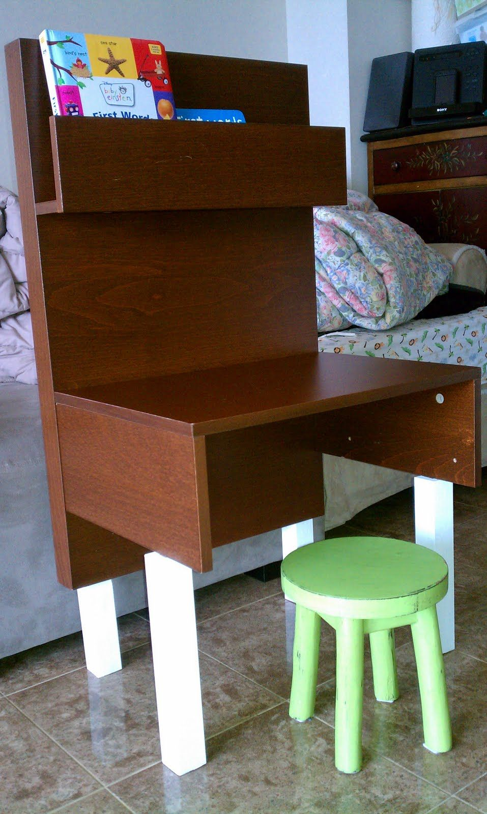Ikea Hackers Desk For A Bambino Great Idea With An Old Malm Endtable