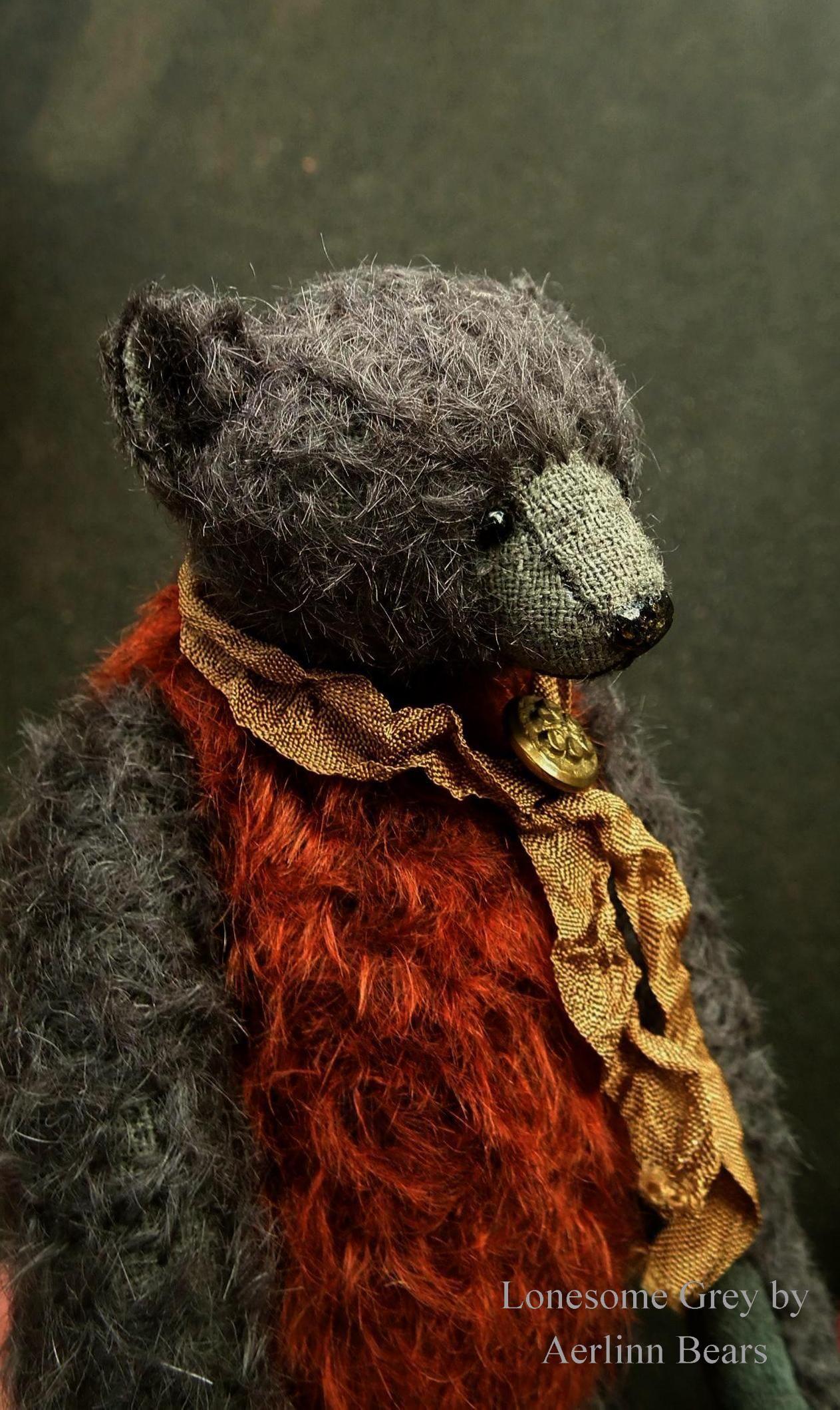 Lonesome Grey, OOAK Mohair Artist Teddy Bear from Aerlinn Bears