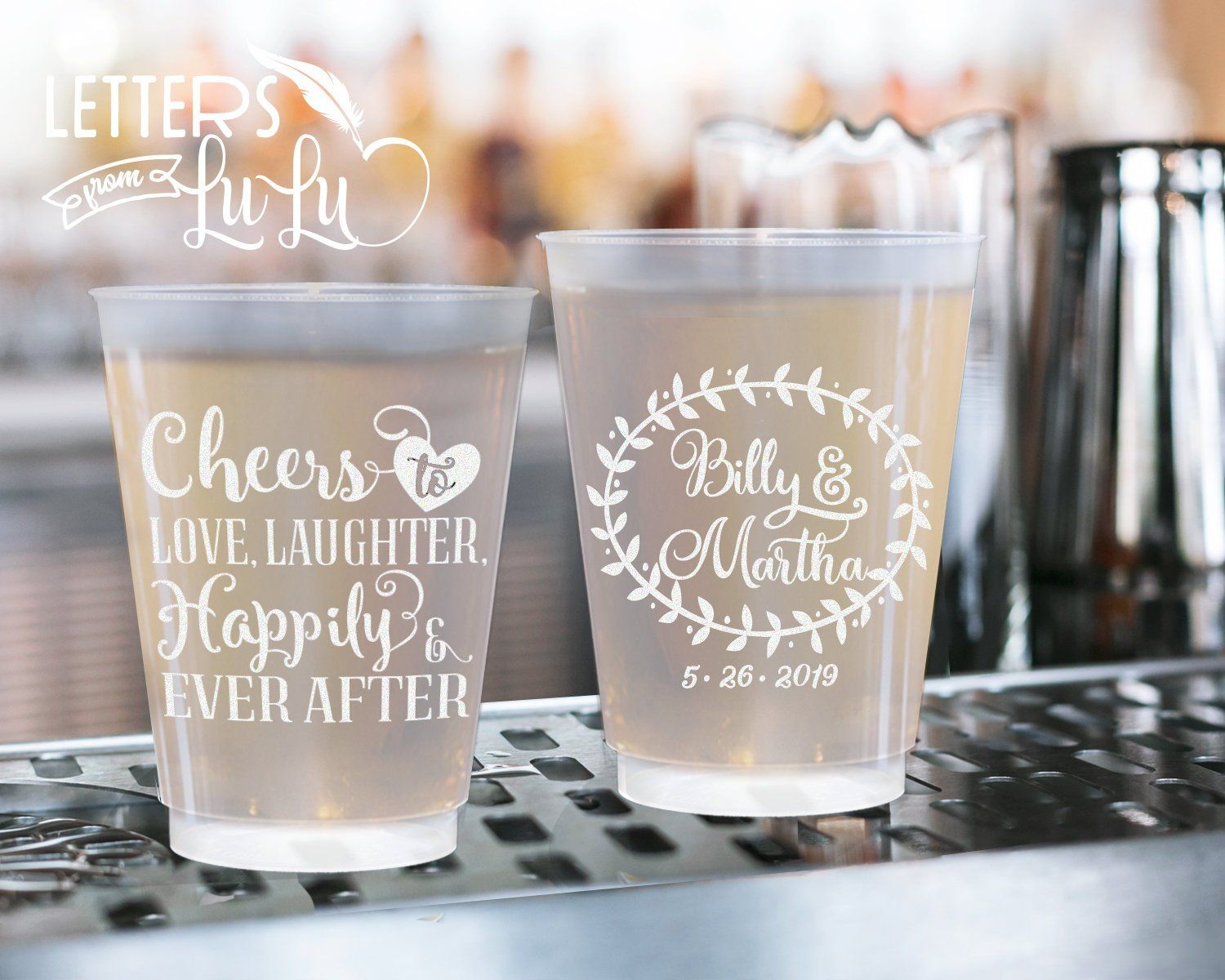 Personalized Cups Birthday Cups Wedding Cups Customized Drinking Cups Frosted Cups Personalize Wedding Cups Personalized Frosted Wedding Cups Wedding Cups