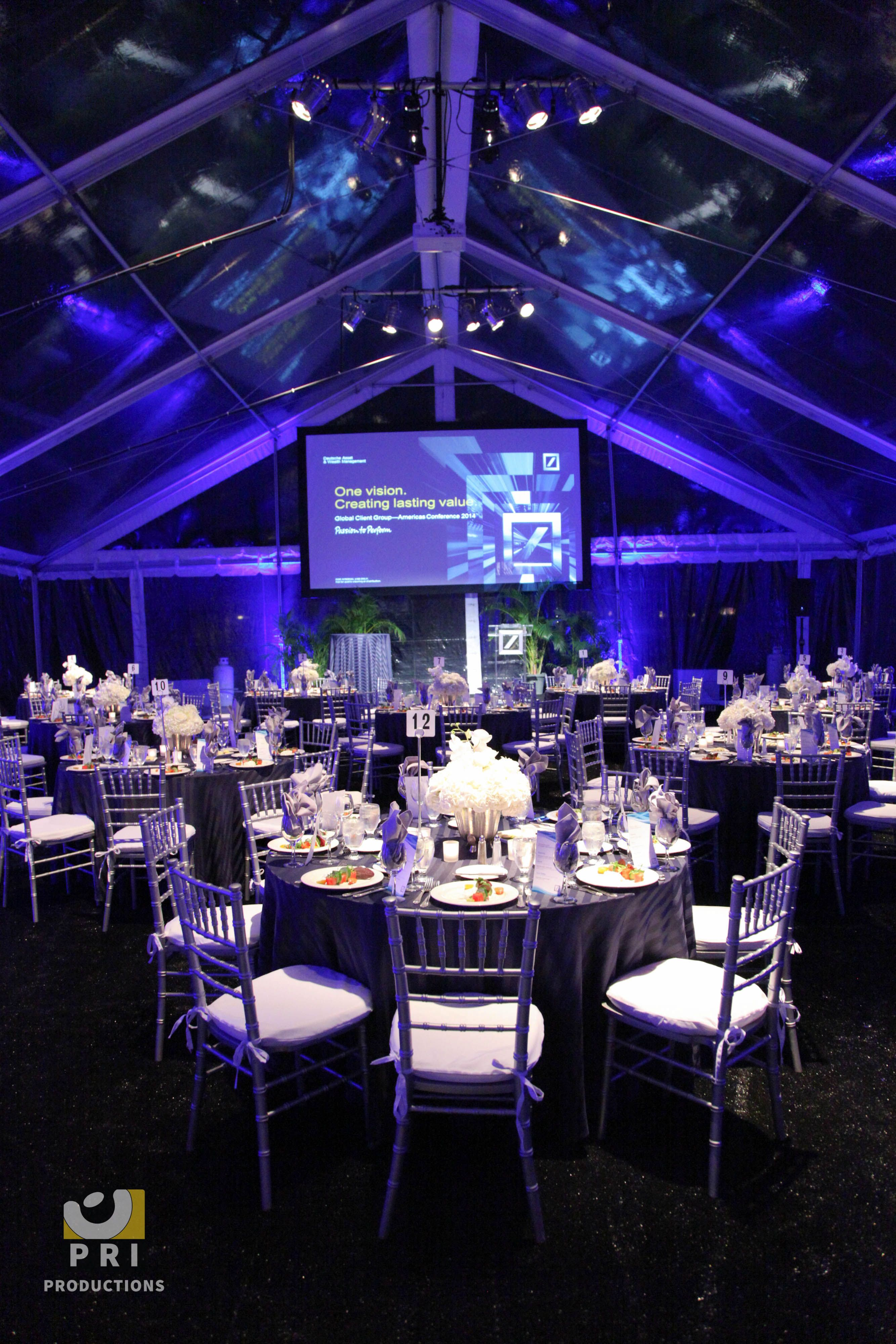 The Purple And Blue Led Lights Create The Perfect Ambiance Under This Clear Tent Event Lighting Tent Decorations Event Producer
