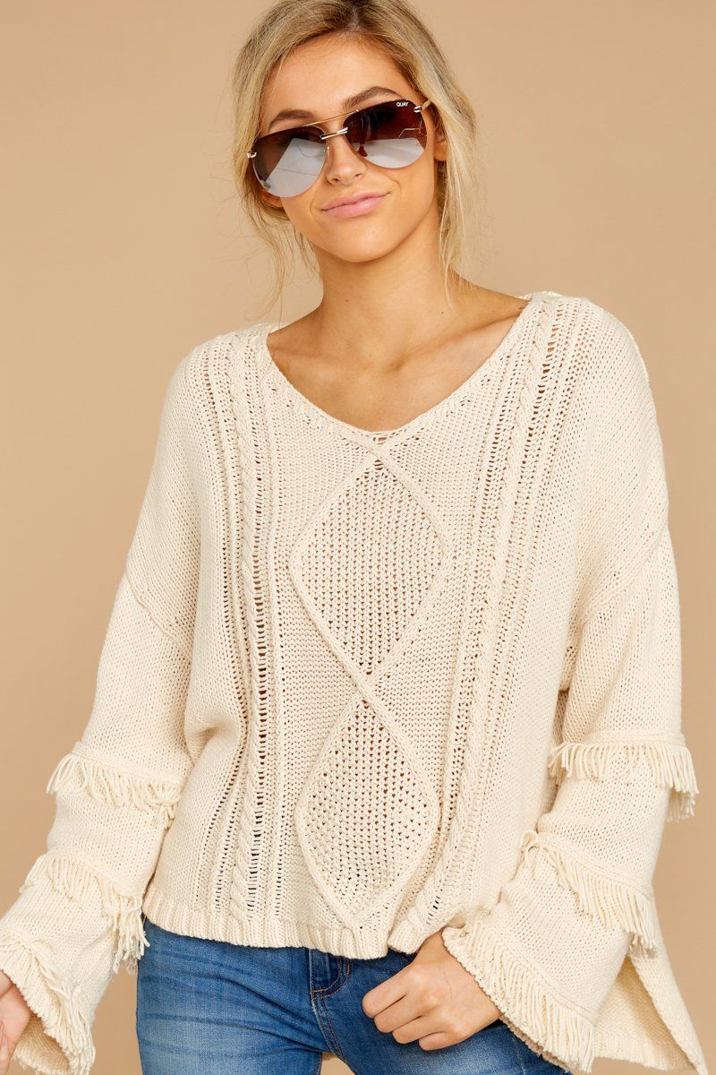 Darling Ivory Cable Knit Sweater - Flowy Oversized Sweater - Top -  58 –  Red Dress Boutique 4556b71c1