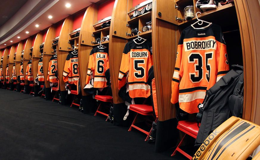 Philadelphia Flyers lockerroom at Wells Fargo Arena