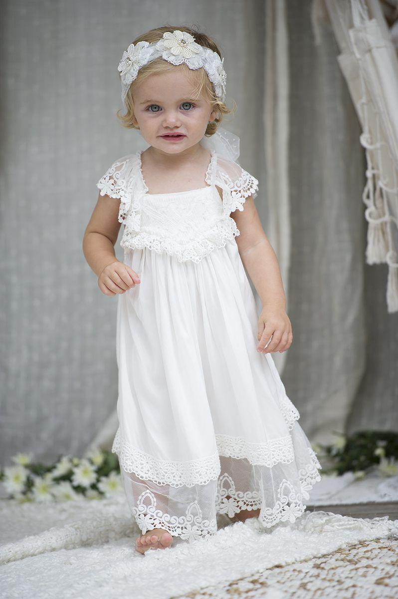 White Baby Flower Girl Dress Boho Christening Chloe By Tea