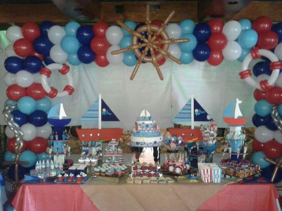 Navy party balloon archs arco con globos pinterest for Anchor balloon decoration