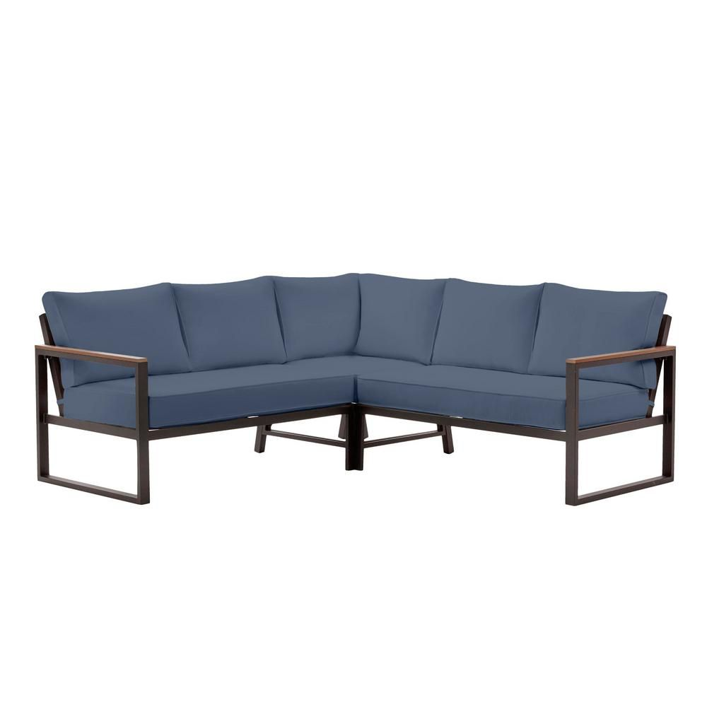 Hampton Bay West Park Black Aluminum Outdoor Patio Sectional Sofa Seating Set With Cushionguard Sky Blue Cushions H146 01196400 The Home Depot In 2021 Patio Sectional Turquoise Cushions Blue Cushions