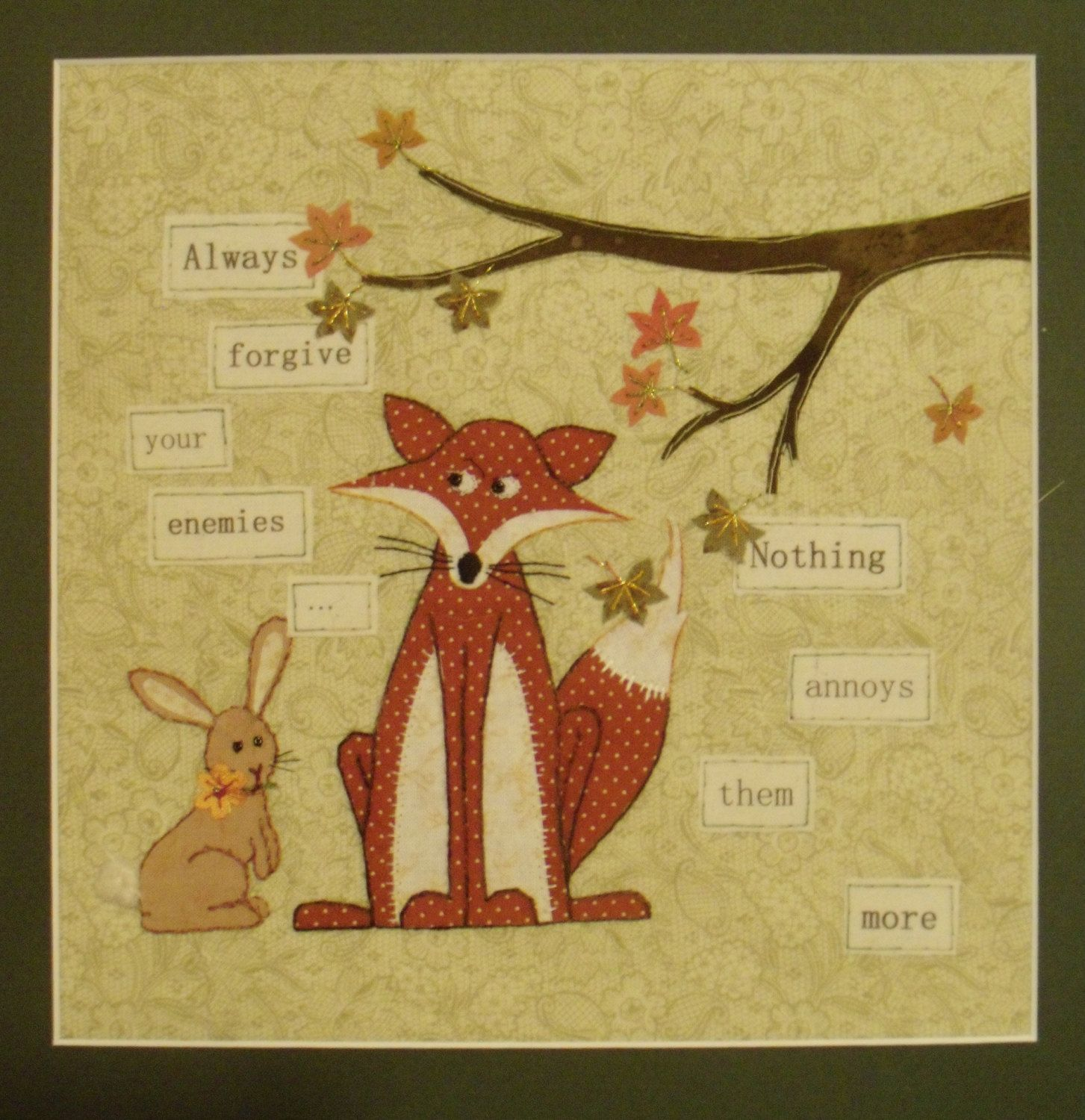 Hand stitched rabbit and fox embroidery with forgiveness quote ...