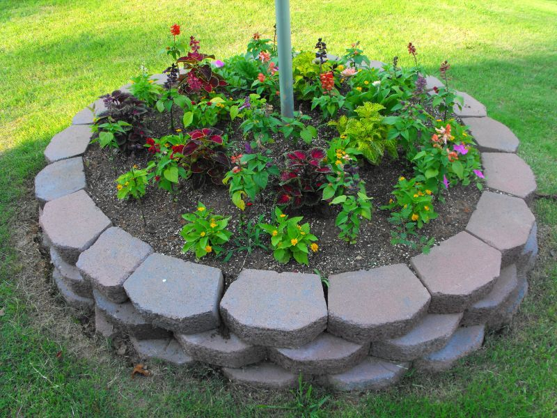 Flagpole Flowers Flag Pole Landscaping Landscaping With Rocks Landscaping Around Trees