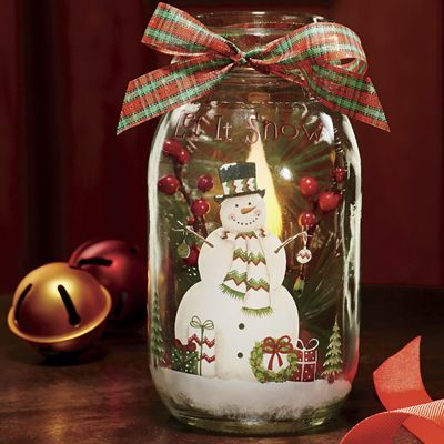 Lighted Snowman Mason Jar Cast A Magical Glow With This 3 Diam Mason Jar Decorated With A Jolly Snowman An Christmas Mason Jars Christmas Jars Mason Jar Diy