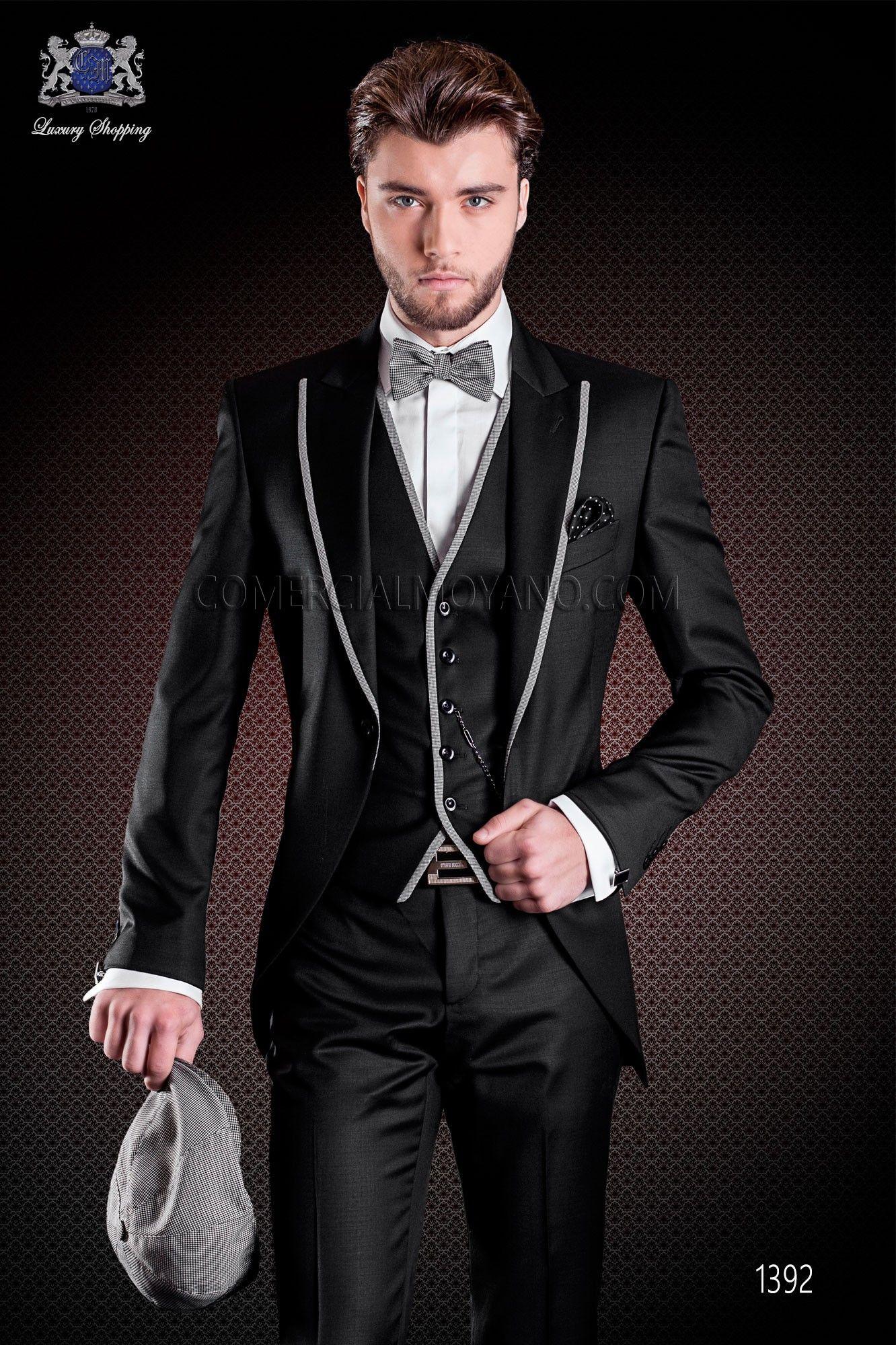 italienischer br utigam anzug mit schmal geschnittener schwarz aus aus wollsatin hochtied. Black Bedroom Furniture Sets. Home Design Ideas
