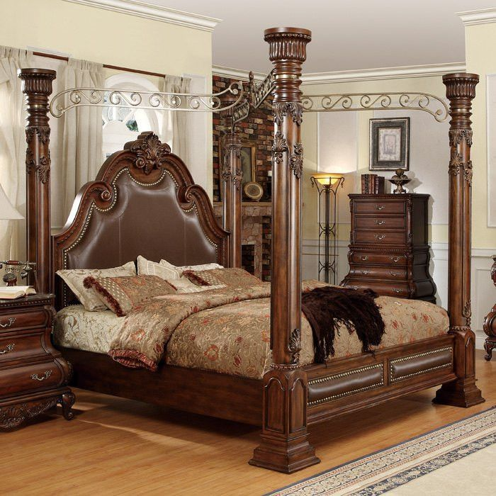 4 Piece Calidonian Bedroom Set Furniture, Leather