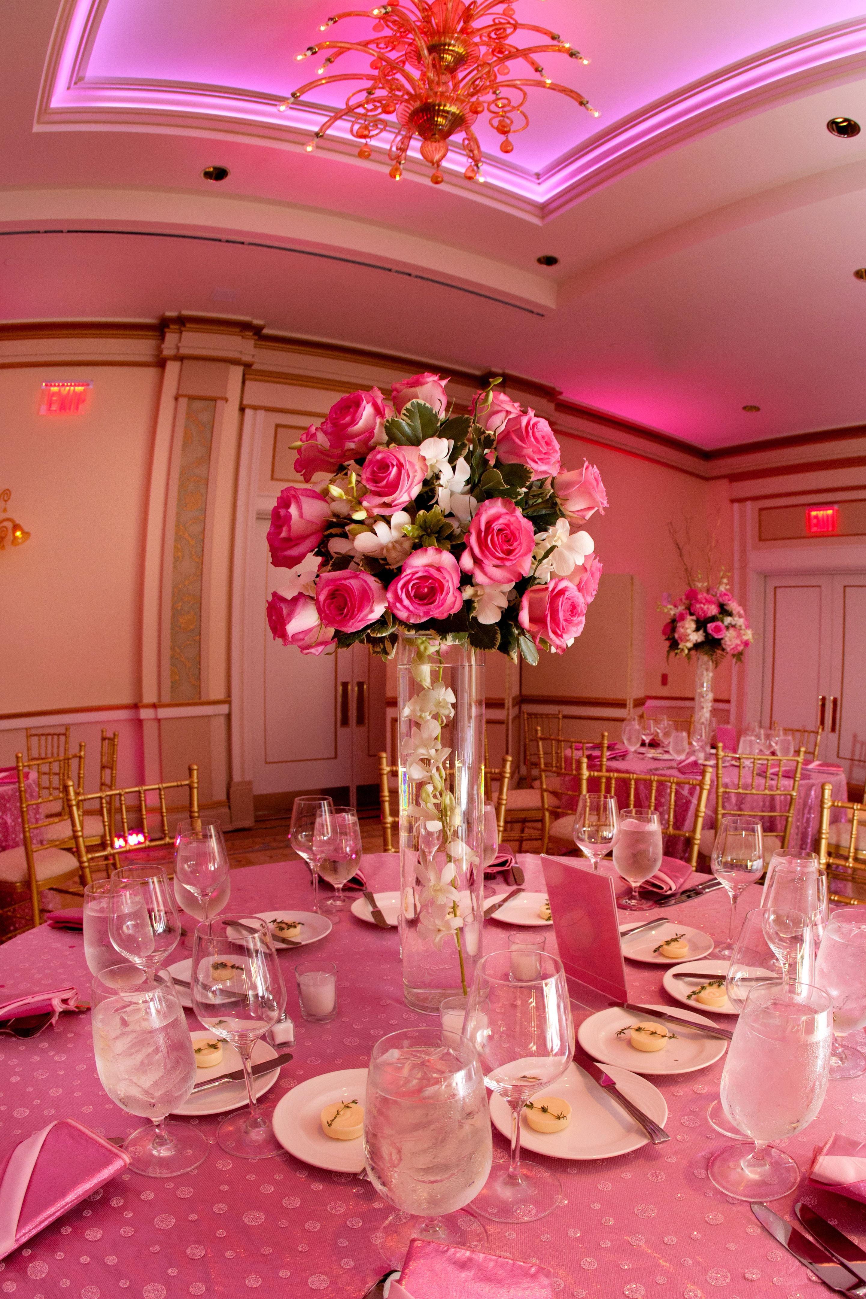 Pink Floral Centerpiece At An Incredible Party Venue In