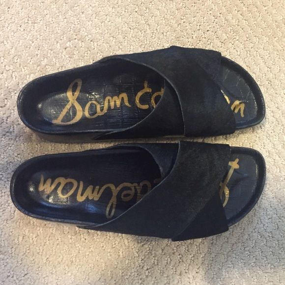 d6c4d408b0669a Sam Edelman Adora black slides   sandals Size 7 Excellent and gently used black  calf hair