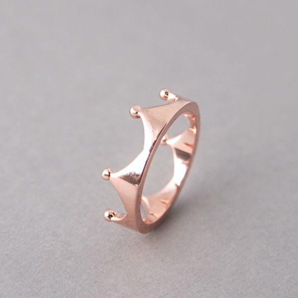 Rose Gold Crown Ring Gold crown Crown and Rose