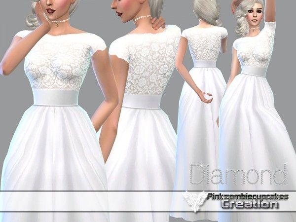 the sims resource: diamond wedding gownpinkzombiecupcake • sims