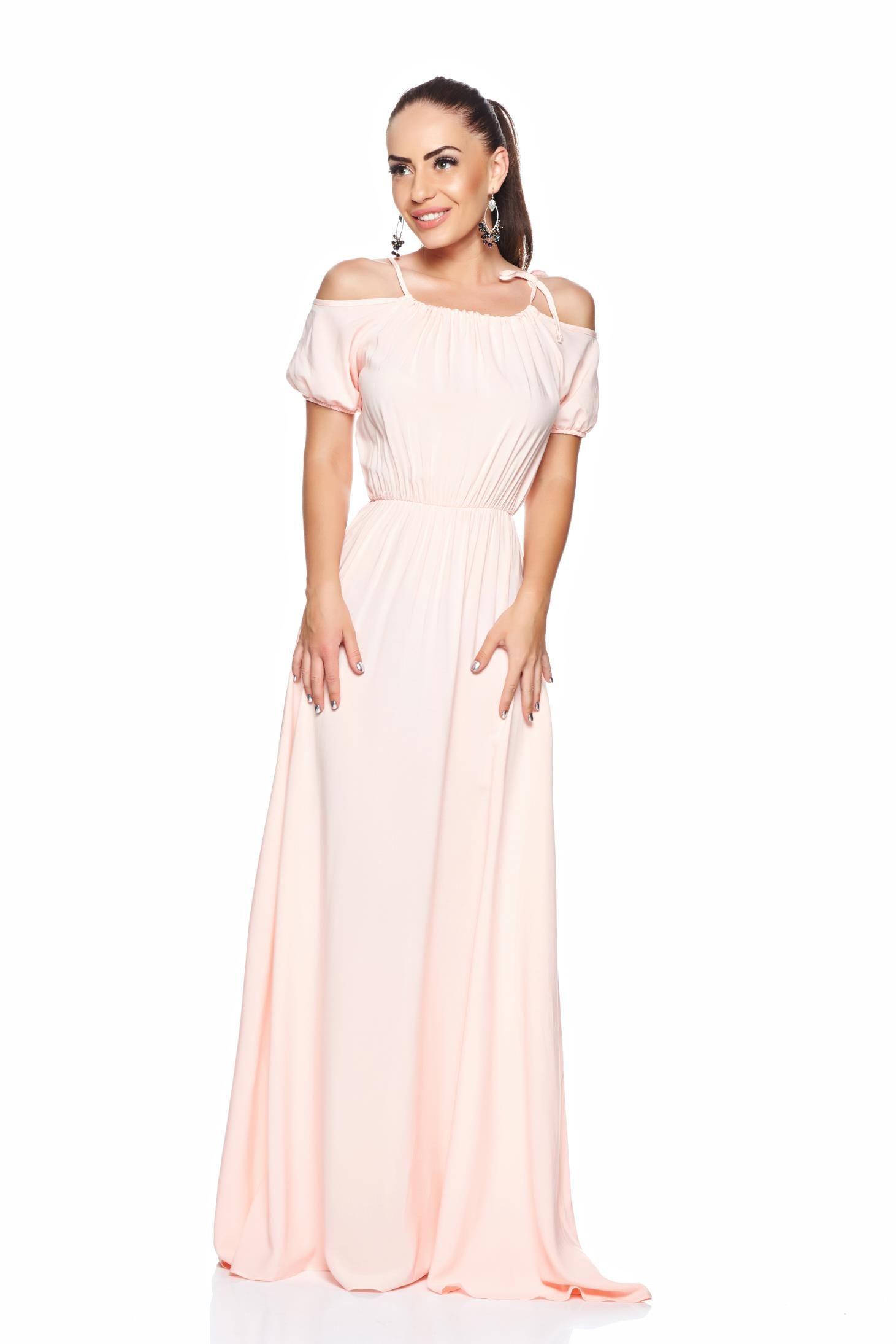 PrettyGirl Maxi Style Peach Dress, ribbon fastening, elastic held sleeves, elastic waist, non-flexible thin fabric, nonelastic fabric, women`s…